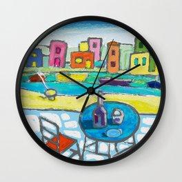 A Day at Greek Island Wall Clock
