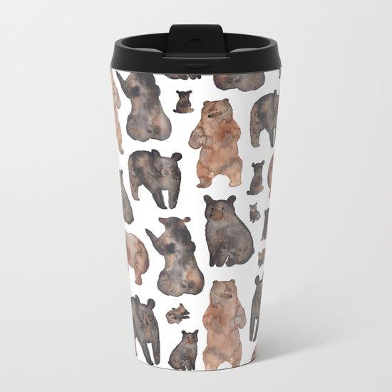 Woodland Bear Pattern Metal Travel Mug