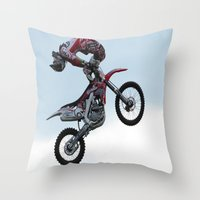 motorbike Throw Pillows featuring Motorbike-stunt-rider by store2u