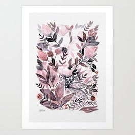 Pink and grey watercolour floral painting Art Print
