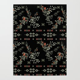 Seamless abstract floral pattern on black background Poster