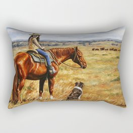 Young Cowgirl on Cattle Horse Rectangular Pillow