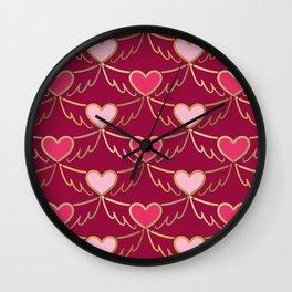 Golden Wings of Love (pattern) wine Wall Clock