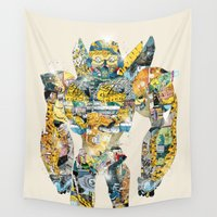 transformers Wall Tapestries featuring pop art bumblebee by bri.buckley