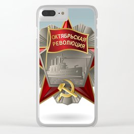 Soviet order of the October Revolution on a bright background. Clear iPhone Case