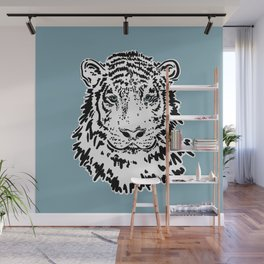 White Tiger | Blue Wall Mural