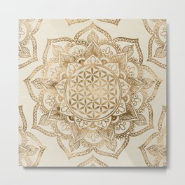 Flower of Life in Lotus - pastel golds and canvas Metal Print