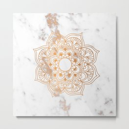 Copper flower mandala - marble Metal Print