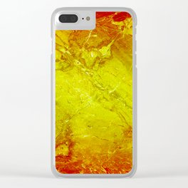 Red Yellow Marble texture Clear iPhone Case