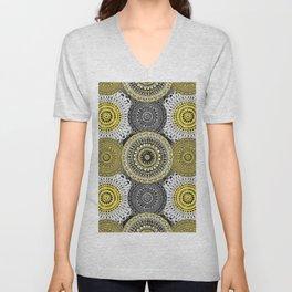 Circle Mandalas Grey & Yellow Unisex V-Neck