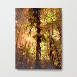 Forest of the Fairies Golden Leaves Metal Print