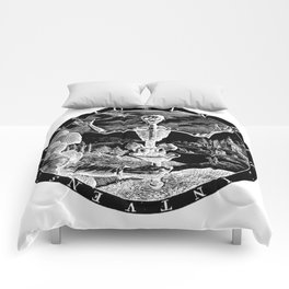 Death Comes To Salem (Black Print) Comforters