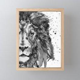 Black And White Half Faced Lion Framed Mini Art Print