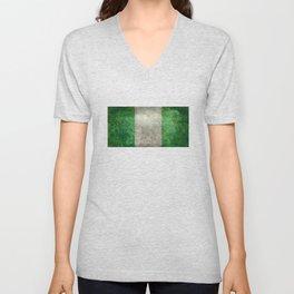 National flag of Nigeria, Vintage retro style Unisex V-Neck