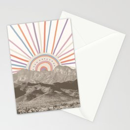 Bohemian Tribal Sun / Abstract Vintage Mountain Happy Summer Vibes Retro Colorful Pastel Sky Artwork Stationery Cards