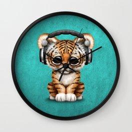 Cute Tiger Cub Dj Wearing Headphones on Blue Wall Clock