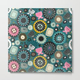 blooms teal Metal Print