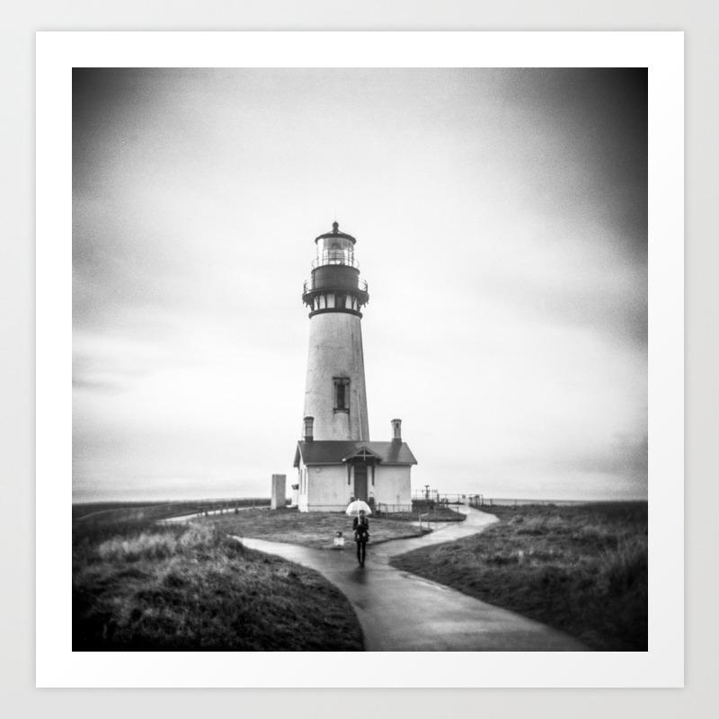 The lighthouse holga black and white photograph art print