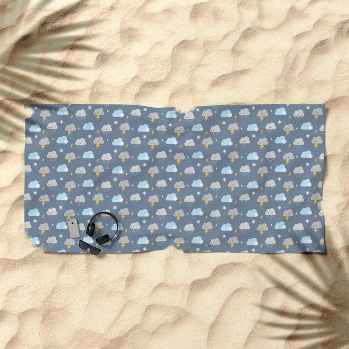Kawaii Stormy Weather Beach Towel
