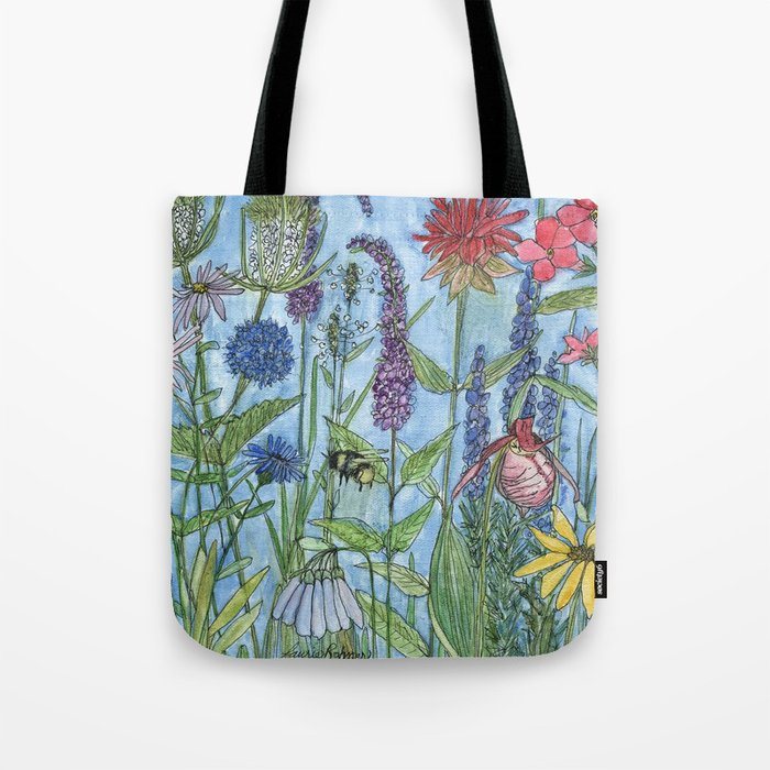 9fa79c75db Watercolor Garden Flower Botanical Wildflowers Lady Slipper Orchid Tote Bag  by betweentheweeds