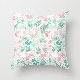 Flirt Mint Blush Throw Pillow