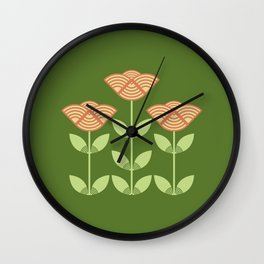 Three Japanese style flowers Wall Clock