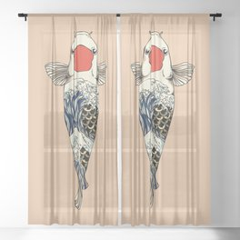 The Great Wave Of Koi Sheer Curtain