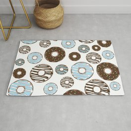 Pattern Of Donuts, Sprinkles, Icing - Blue Brown Rug