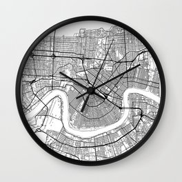 New Orleans Map White Wall Clock
