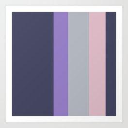 A pretty arrangement of American Blue, Silver, Ube and Cadet Blue (Crayola) vertical stripes. Art Print