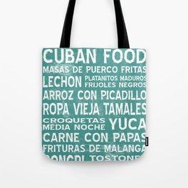 Cuban Food Word Art Poster (Teal) Tote Bag