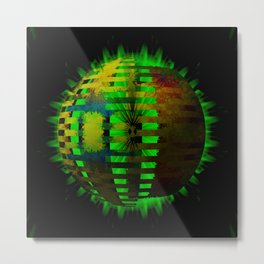 Yellow Layered Star in Green Flames Metal Print