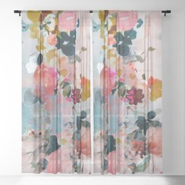 floral bloom abstract painting Sheer Curtain