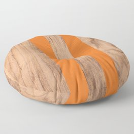 Wood Grain Stripes - Orange #840 Floor Pillow