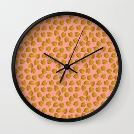 Gold Metallic Foil Monstera Leaves on Peachy Pink Wall Clock