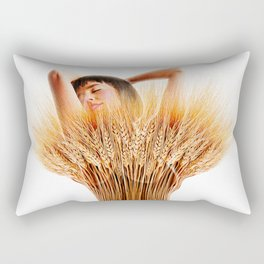 Woman And Wheat Rectangular Pillow