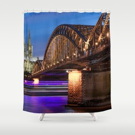 World Popular Hohenzollernbrücke Köln Cologne North Rhine Westphalia Germany Timelapse Ultra HD Shower Curtain
