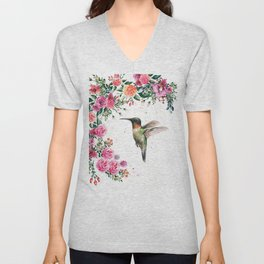 Hummingbird and Flowers Watercolor Animals Unisex V-Neck
