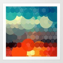 Red & Blue Bubbles Art Print