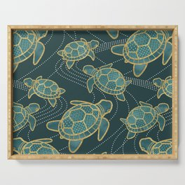 Japanese Pond Turtle / Teal Serving Tray