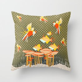 Birds over fishes over mushrooms ...who will win ? Throw Pillow