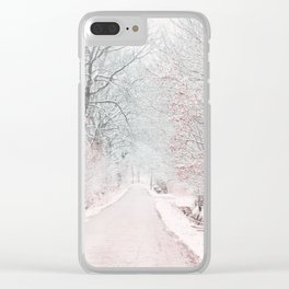 The Winter Road in the Suburb. Clear iPhone Case