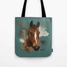 Brown and White Horse Watercolor Dark Tote Bag