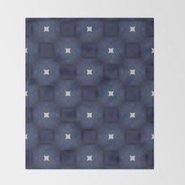 Blue and White Square Pattern Throw Blanket