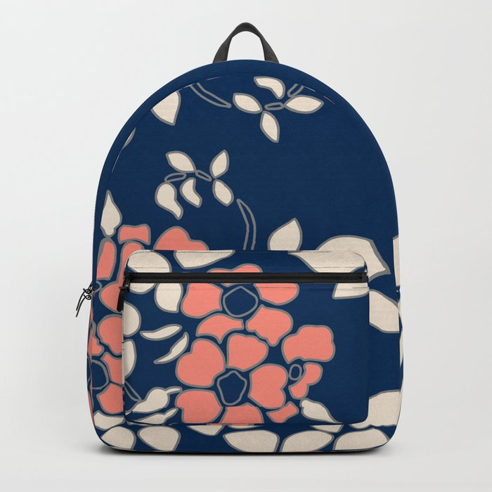 FLORAL IN BLUE AND CORAL Backpack