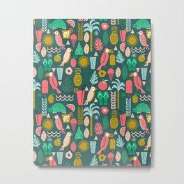 Tropical Vacation Island print pattern fun beach surf sand fun gift for trendy dorm room bright  Metal Print