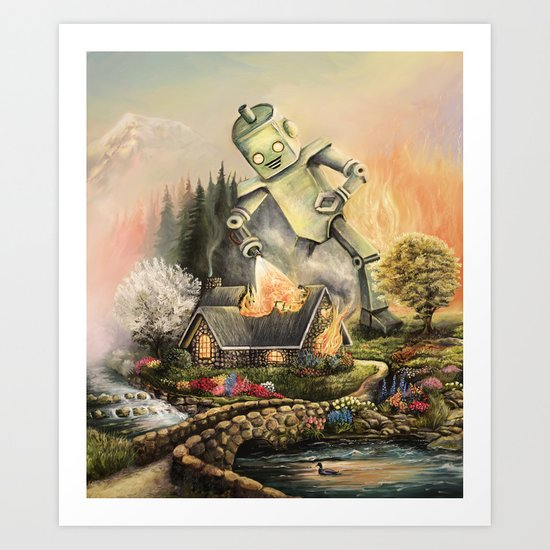 Firelight Cottage Art Print