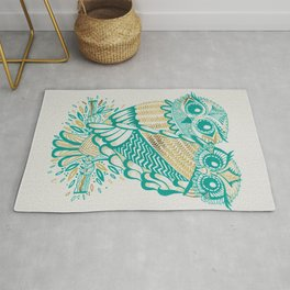 Owls – Turquoise & Gold Rug