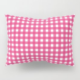 Farmhouse Gingham in Dark Pink Pillow Sham