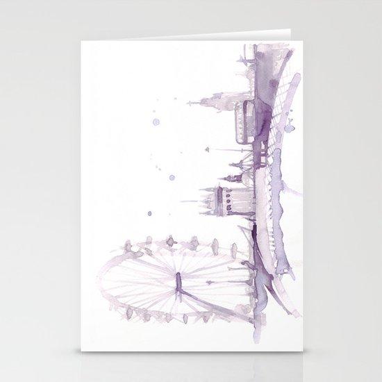 Watercolor landscape illustration_London Eye Stationery Cards